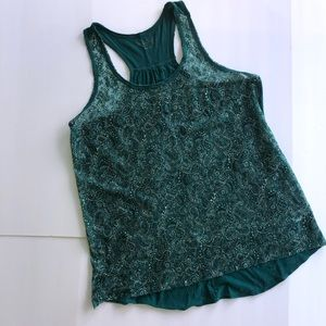 Maurices Tops - Maurices Green Paisley Lace Front Tank Top